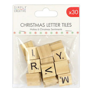 Simply Creative wooden Christmas scrabble letter tiles - FREE P&P