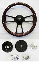 """53 54 Chevy Bel Air 150 210 Mahogany Wood & Black Steering Wheel 14"""" Bowtie Cap"""