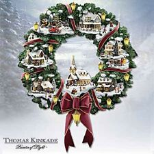 Thomas Kinkade Christmas Village Wreath Wall Art Home Decor - Bradford Exchange