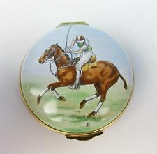 Vintage Large Crummles Enamel Polo Trinket Box Horse Equestrian Pony English