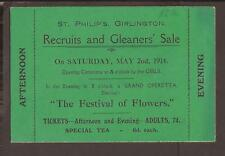 """GB 1914 """"The Festival of Flowers""""  entrance ticket. Recruits and Gleaners Sale"""
