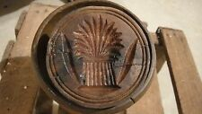 ANTIQUE BUTTERMOLD WITH WHEAT SHEAF CARVING - VERY OLD - PENNSYLVANIA