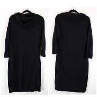 The Limited XL Womens Black Cowl Neck Long Sleeve Midi Sweater Dress