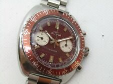 Vintage Duval Stainless Diver Chronograph Root Beer Screw Down Crown L149