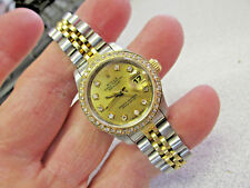 Rolex Watch 18k & Ss DateJust Model 69173 Quick Set Sapphire Diamonds Make Offer