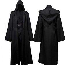 Männer mit Kapuze Robe Umhang Cape Party Halloween Vampir Cosplay Kostüm schwarz
