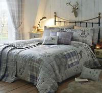 Tatton Stag Heather Bedding Range. Choice of Duvet Sets Throws Cushions Curtains
