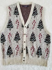 Roundtree & Yorke Sleeveless Button Up Christmas Sweater Vest Size L (EE1)