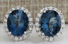 Women's Fashion 925 Silver Blue Topaz Stud Earrings Wedding Engagement Jewelry