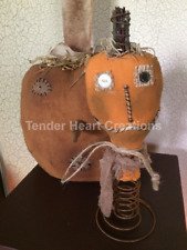 Primitive Jack-O-Lantern Pumpkin on Rusty Spring Halloween Handmade Decoration