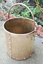 Antique Solid Brass and Copper Handle Rivetted Log Basket Coal Scuttle
