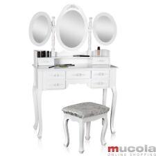 Frisierkommode mit 3 Spiegel weiß Hocker Spiegelaufsatz Schminktisch
