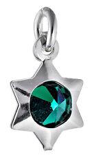 5 sterling silver star charms avec vert émeraude cristal & open jump ring 9 mm
