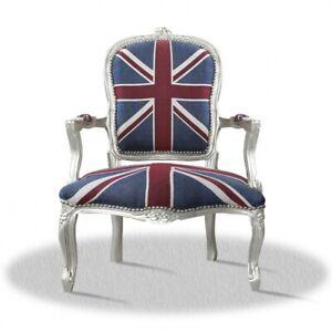Barockstuhl im England Flaggen Muster silber rot blau repro design UK Lounge