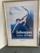 More details for schweppes vintage framed print, table water, mermaid, good condition