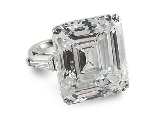 Elizabeth Taylor Inspired 35ct Asscher 925 Sterling Silver Three Stone Ring- 9.5
