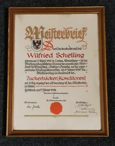 Meisterbrief Zuckerbäcker Feldkirch Österreich 1958