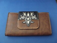 P&G Collection Leather Wallet Clutch - JEWELED Bling Embroidery Brown & Black