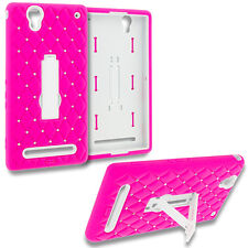 For Sony Xperia T2 Ultra Diamond Bling Hard Soft Hybrid Case Cover Pink