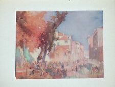 "Frank Brangwyn Watercolor ""Rio Di San Trovaso, Venice"" 1928 Color Photogravure"