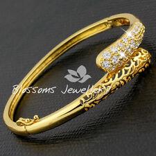 18K Yellow GOLD GF Filigree BANGLE Bracelet with SWAROVSKI CRYSTAL S623 Womens