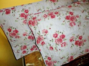 LAURA ASHLEY LAVENDER PURPLE PINK GREEN COUNTRY (PAIR) KING PILLOW SHAMS 20 X 36