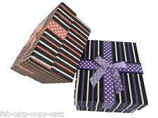 STRIPED DESIGN & SPOTS BOW JEWELLERY WATCH BRACELET GIFT BOXES PADDED INSERT UK