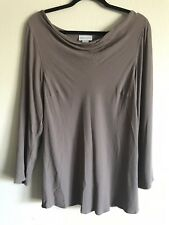 Soft Surroundings Cowl Neck Tunic Top Blouse Taupe Brown Womens Size M Medium