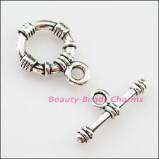 4Sets Tibetan Silver Round Circle Bracelet Toggle Clasps Connectors