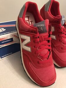Women's Red Classics New Balance WL574 Shoes 9