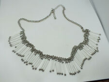 """Beautiful Necklace Silver Tone White Tube Beads 20-22"""" Long x 1"""" Wide Wow"""