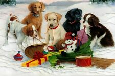 16 Embossed Boxed Christmas Cards Dogs And Sleigh