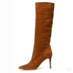 Women's Sexy Pointy Toe Suede Fabric Slouchy Mid Calf Knee Boots High Heel Club