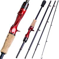 Casting Fishing Rod 1.8m 2.1m 2.4m 100% Carbon Super Hard Lure Pole 4 Sections