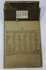 BROWN'S CONCRETE PRODUCTS - PERPETUAL CALENDAR- CLIPBOARD -  1950'S - ANTIQUE