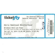 Chris Robinson Brotherhood Concert Ticket Stub Las Vegas Nv 7/10/14 Black Crowes