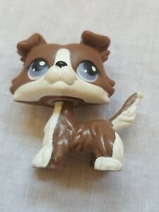 Authentic Littlest Pet Shop No # Chocolate Brown White Collie Purple Eyes Puzzle