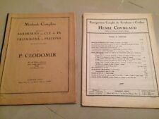 Deux Livres Enseignement Du trombone à Coulisse, Et Un Trombone Un Piston.