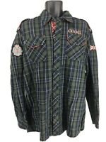NWT COOGI Green & Black Button Down Shirt Embroidered Red Crests Mens Size XL 8