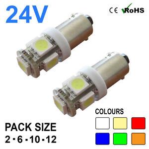 24v Side Light 249 233 T4W 5 SMD BA9s Hella Spot Bulbs HGV Truck Single Contact