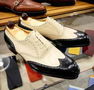 New Pure Handmade Leather Lace up Brogue Shoes, Men wing Tip Black Dress Shoes