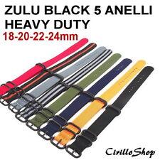 CINTURINO OROLOGIO NYLON ZULU G10 5 ANELLI BLACK HEAVY 18mm 20mm 22mm 24mm NATO