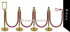 """ROPE STANCHION, 10 PCS SET, CROWN TOP, GOLD POLISH S.S. 12"""" DOMED BASE"""