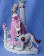 "1950S BORZOI & LADY LAMP GERMANY 9"" WORKS"