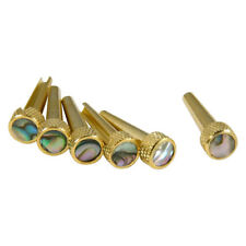 D'Andrea TP2A Acoustic Guitar Tone Pins Gold Brass Bridge Pin Set with Abalone