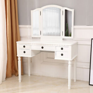 Tri Folding Mirror Vintage Vanity Makeup Dressing Table Set 5 Drawers White
