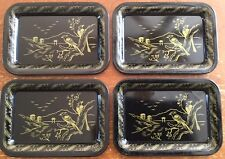 OLD VTG TIN TEA TRAY ORIENTAL BLACK GOLD BIRD KID METAL TOY TRINKET LOT SET OF 4