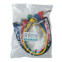 "Multi-color 12"" Angle to Angle Guitar effect pedal jumper patch cable, Pack of 6"