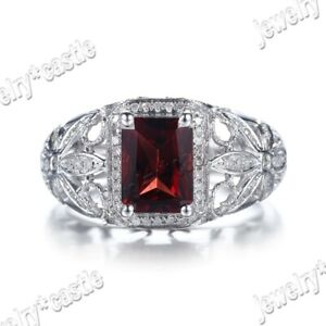 Sterling Silver Natural SI/H Diamond Jewelry Engagement Cushion Garnet Fine Ring