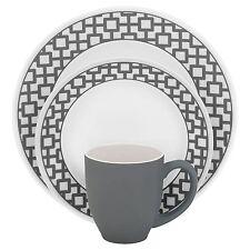 Corelle Impressions 16-Piece Dinnerware Set, Urban Grid, Service for 4